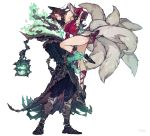 1boy 1girl ahri animal_ears bare_shoulders black_hair closed_mouth coat collarbone extra_tails eyebrows_visible_through_hair facial_mark fingernails fire fox_ears fox_tail green_fire highres holding_another key kitsune lantern league_of_legends lock long_hair looking_at_another open_mouth padlock panza red_nails signature simple_background skull smile standing tail thresh white_background