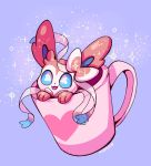 blue_eyes creature cup flufflixx gen_6_pokemon heart highres in_container in_cup mug no_humans pokemon pokemon_(creature) purple_background ribbon signature simple_background solo sparkle sylveon