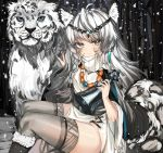 1girl absurdres ahoge animal_ear_fluff animal_ears animal_print arknights bangs bead_necklace beads bell black_footwear boots braid dress eyebrows_visible_through_hair feet_out_of_frame fur-trimmed_boots fur_trim grey_eyes grey_legwear hands_up head_chain highres holding holding_bell holding_own_tail jewelry kanniepan leopard leopard_ears leopard_girl leopard_print leopard_tail long_sleeves necklace pelvic_curtain pramanix_(arknights) side_braids silver_hair sitting snowing tail thigh-highs thighs turtleneck turtleneck_dress twin_braids white_dress wide_sleeves