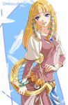 1girl bangs blonde_hair blunt_bangs bracelet breasts collarbone commentary dress feathers gem hair_tubes harp instrument jewelry lips long_hair long_sleeves looking_to_the_side medium_breasts parted_lips pink_dress pointy_ears princess_zelda shawl shuri_(84k) sidelocks smile solo the_legend_of_zelda the_legend_of_zelda:_skyward_sword twitter_username