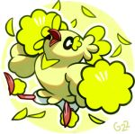bird bird_focus black_eyes commentary creature english_commentary feathers full_body gen_7_pokemon jumping no_humans one_eye_closed oricorio oricorio_(pom-pom) pinkgermy pokemon pokemon_(creature) signature solo yellow_background yellow_theme