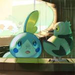 :o bird black_eyes blue_eyes claws conmimi creature eye_contact fletchling gen_5_pokemon gen_6_pokemon gen_8_pokemon looking_at_another no_humans pidove pokemon pokemon_(creature) sobble standing yellow_eyes