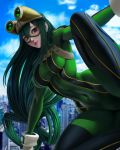 1girl asui_tsuyu black_eyes bodysuit boku_no_hero_academia breasts commentary gloves green_bodysuit hair_rings highres hlulani long_hair looking_at_viewer low-tied_long_hair signature solo tongue tongue_out watermark web_address
