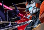 beam_saber blue_eyes commentary_request duel efreet_nacht face-to-face g-line glowing glowing_eyes gradient gradient_background gundam gundam_battlefield_record_uc_0081 highres kumichou_(ef65-1118-ef81-95) mecha no_humans pink_eyes red_background sword upper_body weapon