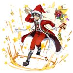1boy bag bell black_eyes black_footwear black_hair boots closed_mouth coat fur-trimmed_coat fur-trimmed_headwear fur_trim gift_bag gloves hat highres holding holding_bag kirito knee_boots long_sleeves looking_at_viewer male_focus official_art pants red_coat red_headwear red_pants santa_costume santa_hat shiny shiny_hair smile solo sword_art_online transparent_background white_gloves