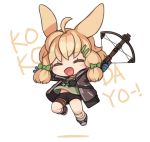 1girl animal_ears arknights bandages black_jacket blue_gloves blush bow_(weapon) crossbow gloves green_shirt holding holding_bow_(weapon) holding_weapon hood hooded_jacket id_card jacket kroos_(arknights) open_clothes open_jacket open_mouth rabbit_ears ran_system shirt shorts solo weapon