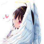 1girl absurdres ahoge angel_wings black_hair blush dated dongyue_sakura halo highres itai_no_wa_iya_nano_de_bougyoryoku_ni_kyokufuri_shitai_to_omoimasu looking_at_viewer looking_back maple_(itai_no_wa_iya_nano_de_bougyoryoku_ni_kyokufuri_shitai_to_omoimasu) pink_eyes solo spoilers wings
