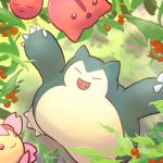 cherrim cherrim_(sunshine) cherry cherubi closed_eyes commentary_request creature facing_up fangs food fruit gen_1_pokemon gen_4_pokemon no_humans ohdon pokemon pokemon_(creature) signature snorlax standing tree