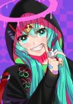 1girl bandaid_on_finger bangs black_jacket blue_nails eyebrows_visible_through_hair fang green_eyes grin hair_between_eyes hair_ornament halha_20 hatsune_miku highres hood hood_up hooded_jacket index_finger_raised jacket jewelry nail_polish pizza_hair_ornament ring smile solo upper_body vocaloid