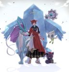 1boy animal_ears babape blue_eyes brown_hair cat_ears crossover crystal dress final_fantasy final_fantasy_xiv floating_hair full_body g'raha_tia gen_2_pokemon gen_3_pokemon gen_5_pokemon height_difference holding holding_mask holding_poke_ball klink looking_at_viewer male_focus mask miqo'te petting poke_ball poke_ball_(generic) pokemon pokemon_(creature) red_eyes regice sandals short_hair spoilers standing suicune toes zorua
