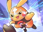 black_eyes commentary_request cosplay_pikachu creature electricity full_body furrowed_eyebrows gen_1_pokemon highres jumping no_humans ohdon pikachu pikachu_libre pokemon pokemon_(creature) purple_background solo