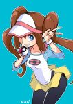 1girl absurdres blue_background blue_eyes blush brown_hair collarbone double_bun hair_bun hat highres hiva+ holding holding_poke_ball long_hair mei_(pokemon) one_eye_closed pantyhose parted_lips poke_ball poke_ball_(generic) pokemon pokemon_(game) pokemon_bw2 signature simple_background skirt sleeves_rolled_up smile solo sweatband twintails v yellow_skirt