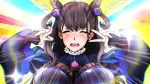 1girl amethyst_(gemstone) bangs black_dress blush breasts brown_hair closed_eyes crying double_v dress emotional_engine_-_full_drive fate/grand_order fate_(series) gem hair_ornament juliet_sleeves large_breasts light_rays long_hair long_sleeves murasaki_shikibu_(fate) ninini_pix open_mouth parody puff_and_slash_sleeves puffy_sleeves rainbow_background sleeves_past_wrists solo sparkle two_side_up v v_over_eye very_long_hair wavy_mouth wide_sleeves