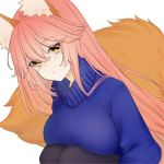 1girl animal_ear_fluff animal_ears blush breast_press breast_rest breasts closed_mouth commentary commentary_request eyes_visible_through_hair fate/extra fate/grand_order fate_(series) fox_ears fox_girl fox_tail looking_at_viewer pink_hair simple_background solo tail tamamo_(fate)_(all) tamamo_no_mae_(fate) turtleneck uminosobadashi white_background yellow_eyes