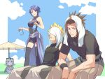 1girl 2boys aqua_(kingdom_hearts) bangs black_legwear black_shirt blonde_hair blue_eyes blue_hair blue_shirt blue_sky breasts brown_hair can chirithy clouds cloudy_sky commentary_request feet_out_of_frame gogo_(detteiu_de) highres holding kingdom_hearts kingdom_hearts_birth_by_sleep kingdom_hearts_x medium_breasts multiple_boys open_mouth shadow shiny shiny_hair shirt short_sleeves sky sleeveless sweat sweatdrop terra_(kingdom_hearts) thigh-highs towel towel_on_head umbrella ventus