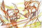 beam_saber color_trace colored_pencil_(medium) commentary_request duel efreet_nacht face-to-face g-line gundam gundam_battlefield_record_uc_0081 highres kumichou_(ef65-1118-ef81-95) mecha no_humans sketch sword traditional_media upper_body weapon
