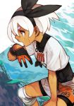 1girl bow commentary dark_skin gloves gym_leader hair_bow hand_on_own_knee hankuri knee_pads looking_to_the_side open_mouth pokemon pokemon_(game) pokemon_swsh saitou_(pokemon) shirt short_hair short_shorts shorts silver_hair single_glove solo sweat tied_shirt