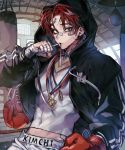 1boy absurdres bandaged_hands bandages bandaid bandaid_on_face blue_eyes boxer boxing_gloves closed_mouth covered_navel earrings facial_scar highres hood hood_up indoors jewelry male_focus medal muscle original panza punching_bag redhead scar single_earring solo sweat