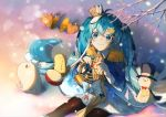 1girl animal aqua_eyes aqua_hair band_uniform blue_jacket blurry_foreground bow bowtie branch cape cymbals drum drumsticks epaulettes french_horn from_above gloves hat hat_feather hatsune_miku holding holding_instrument instrument jacket light_blush long_hair looking_up omutatsu pantyhose pokapoka_no_hoshi_(vocaloid) rabbit rabbit_yukine sitting skirt smile snow snowflakes snowing squirrel top_hat twintails very_long_hair vocaloid white_gloves white_skirt yuki_miku yuki_miku_(2020)