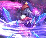 1girl abstract abstract_background attack beret blue_flower blue_hair blue_headwear blue_rose danmaku ears evil_grin evil_smile eyebrows eyebrows_visible_through_hair floral_print flower frilled_sleeves frills grin hat headwear kunai looking_at_viewer miyako_yoshika ofuda open_eyes red_shirt rose rose_print shirt short_hair short_sleeves smile spell_card sunyup teeth ten_desires throwing touhou upper_body weapon wind zombie
