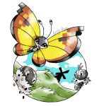 :d artsy-theo black_eyes bug butterfly creature flying full_body gen_6_pokemon grass happy insect looking_at_viewer no_humans open_mouth outdoors pokemon pokemon_(creature) scatterbug signature smile spewpa vivillon vivillon_(continental) windmill