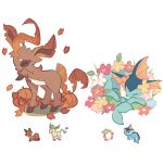 autumn_leaves charamells closed_eyes comfey creature flower full_body fusion gen_1_pokemon gen_4_pokemon gen_7_pokemon gen_8_pokemon grass highres leafeon lying multiple_fusions nickit no_humans on_stomach pokemon pokemon_(creature) pumpkin simple_background sleeping standing vaporeon white_background