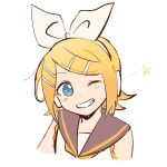 1girl bangs bare_shoulders black_collar blonde_hair blue_eyes bow collar commentary grin hair_bow hair_ornament hairclip headphones highres kagamine_rin looking_at_viewer m0ti one_eye_closed portrait sailor_collar shirt short_hair smile solo star swept_bangs twitter_username vocaloid white_background white_bow white_shirt