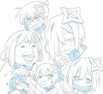 >_< 2girls amane_kanata blade_(galaxist) commentary_request cosplay edogawa_conan edogawa_conan_(cosplay) glasses hair_between_eyes hair_ornament hair_over_one_eye hololive hoshimachi_suisei houshou_marine laughing looking_at_viewer meitantei_conan monochrome multiple_girls old_woman one_eye_closed open_mouth parody short_hair simple_background suisei_channel tears virtual_youtuber white_background