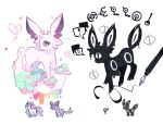 ! charamells creature drawing espeon from_side full_body fusion galarian_form galarian_ponyta gen_2_pokemon gen_8_pokemon heart horn multiple_fusions no_humans pen pokemon pokemon_(creature) profile simple_background spoken_exclamation_mark standing umbreon unicorn unown white_background