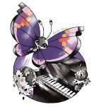 :d artsy-theo black_eyes bug butterfly creature flying full_body gen_6_pokemon happy insect instrument looking_at_viewer no_humans open_mouth piano pokemon pokemon_(creature) purple_background scatterbug signature smile spewpa vivillon vivillon_(elegant)