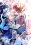 2girls ama_asagi bangs blonde_hair blue_shirt blue_skirt bow cherry_blossoms closed_eyes commentary dress fairy_wings finger_to_mouth floating_hair frilled_dress frilled_skirt frills hands_on_head hands_up highres letty_whiterock lily_white long_hair long_skirt long_sleeves multiple_girls petals pink_dress pink_headwear red_bow red_ribbon ribbon shirt shushing skirt touhou wavy_hair white_hair white_headwear white_legwear white_ribbon white_sash wide_sleeves wings