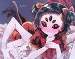 1girl bangs black_sclera blunt_bangs blush bow brown_hair dress extra_arms fang fangs fangs_out hair_bow high_heels ikeuchi_tanuma insect_girl looking_at_viewer lying monster_girl muffet nose_blush on_stomach own_hands_together pale_skin purple_skin red_bow red_dress red_eyes short_hair skin_fang skin_fangs smile solo spider_girl translation_request two_side_up undertale