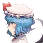 1girl bat_wings black_wings blue_hair boa_(brianoa) bow closed_mouth collared_shirt eyebrows_visible_through_hair hair_ornament hat hat_bow highres jewelry looking_away mob_cap necklace pillow_hat portrait profile red_bow red_eyes remilia_scarlet shirt short_hair sideways_mouth simple_background slit_pupils smile solo touhou white_background white_headwear white_shirt wings