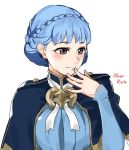 1girl artist_name black_eyes blue_dress blue_hair blush braid capelet closed_mouth commentary commission crown_braid dress english_commentary epaulettes eyebrows_visible_through_hair fire_emblem fire_emblem:_three_houses hand_to_own_mouth highres lips looking_away marianne_von_edmund oliver_koito ribbon short_hair simple_background smile solo white_background white_ribbon