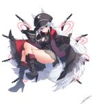 1girl aiguillette animal_ears armband artist_name ass black_coat black_footwear black_gloves black_headwear black_shirt boots breasts coat commentary_request crossed_legs double-breasted ears_through_headwear full_body gloves grey_skirt gun hat high_collar high_heel_boots high_heels long_hair long_sleeves looking_at_viewer medium_breasts miniskirt musket open_clothes open_coat original peaked_cap pleated_skirt shirt skirt solo tail thighs v-shaped_eyebrows very_long_hair weapon white_background white_hair wide_sleeves wing_collar wolf_ears wolf_girl wolf_tail yaki_mayu