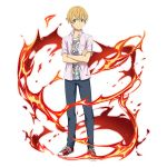 1boy blonde_hair blue_eyes blue_pants casual closed_mouth collarbone collared_shirt crossed_arms dress_shirt eugeo fire hair_between_eyes highres looking_at_viewer male_focus non-web_source official_art open_clothes open_shirt pants pink_shirt print_shirt red_footwear shiny shiny_hair shirt shoes short_sleeves smile sneakers solo standing sword_art_online transparent_background wing_collar