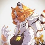 1girl animal_ear_fluff animal_ears bangs black_hair breast_pocket eyebrows_visible_through_hair from_side gloves grin japari_symbol kemono_friends lips long_hair looking_afar low-tied_long_hair multicolored_hair necktie orange_hair plaid_neckwear pocket profile shirt siberian_tiger_(kemono_friends) smile solo streaked_hair striped striped_tail sweater_vest tail takami_masahiro tiger_ears tiger_tail upper_body white_hair yellow_eyes