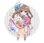 1girl :d blue_eyes blue_neckwear bouquet bow bowtie brown_hair chibi detached_collar dress flower frilled_bow frills full_body gloves hair_bow hat ikeuchi_tanuma long_dress looking_at_viewer mini_hat mini_top_hat open_mouth original pigeon-toed pink_flower shoes smile solo standing star top_hat two_side_up white_dress white_footwear white_gloves yellow_bow