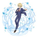 1boy :d bangs black_footwear black_jacket blonde_hair blue_eyes blue_flower blue_pants blue_rose collared_shirt eugeo flower hair_between_eyes highres ice jacket long_sleeves looking_at_viewer male_focus necktie non-web_source official_art open_clothes open_jacket open_mouth pants print_neckwear red_neckwear rose school_uniform shiny shiny_hair shirt smile solo sparkle sword_art_online transparent_background white_shirt wing_collar