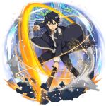 1boy black_coat black_eyes black_hair black_pants hair_between_eyes highres holding holding_sword holding_weapon kirito long_sleeves looking_at_viewer male_focus non-web_source official_art open_mouth pants shiny shiny_hair solo standing sword sword_art_online transparent_background v-shaped_eyebrows weapon