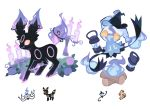 blue_fire candle chandelure charamells commentary creature english_commentary fire flame floating flower full_body fusion gen_2_pokemon gen_5_pokemon gen_7_pokemon hat lampent looking_at_another looking_at_viewer mimikyu multiple_fusions no_humans pokemon pokemon_(creature) purple_fire red_eyes rose simple_background standing umbreon white_background witch_hat wood yellow_eyes
