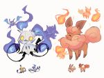 ^_^ chandelure charamells closed_eyes creature crobat cyndaquil eevee fire flame flareon full_body fusion gen_1_pokemon gen_2_pokemon gen_5_pokemon gen_7_pokemon mimikyu multiple_fusions no_humans pokemon pokemon_(creature) purple_fire simple_background standing vulpix white_background yellow_eyes