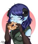 1girl artist_name bangs blue_hair blue_skin blush breasts chewing closed_eyes coat critical_role curled_horns doughnut draconety dungeons_and_dragons eating elbow_gloves food freckles gloves highres holding horn_ornament horns jester_(critical_role) jewelry military_jacket pointy_ears ring short_hair signature simple_background solo swept_bangs tiefling watermark