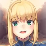 1girl :d ahoge artoria_pendragon_(all) bangs blonde_hair blue_dress boa_(brianoa) dress eyebrows_visible_through_hair fate/stay_night fate_(series) green_eyes highres light_blush looking_at_viewer open_mouth portrait round_eyewear saber smile solo turtleneck twitter_username upper_teeth