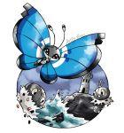 :d artsy-theo bug butterfly clouds cloudy_sky creature flying gen_6_pokemon happy insect looking_at_viewer no_humans ocean open_mouth outdoors pokemon pokemon_(creature) scatterbug signature sky smile spewpa tower vivillon vivillon_(marine) water waves