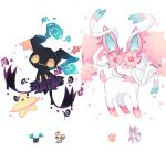 :d charamells cherrim cherrim_(sunshine) cosmog creature full_body fusion gen_4_pokemon gen_6_pokemon gen_7_pokemon looking_back mimikyu multiple_fusions no_humans open_mouth petals pink_eyes pokemon pokemon_(creature) simple_background smile standing star sylveon white_background yellow_eyes