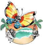 :d artsy-theo beach bug butterfly creature flying gen_6_pokemon happy insect looking_at_viewer no_humans open_mouth outdoors pine_tree pokemon pokemon_(creature) sand scatterbug signature sky smile spewpa tree twilight vivillon vivillon_(ocean) waves