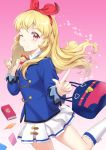 1girl ;) aikatsu! aikatsu!_(series) arms_up bag blazer blonde_hair blue_jacket book commentary contrapposto floating_hair gradient gradient_background hair_ribbon handbag holding holding_spoon hoshimiya_ichigo index_finger_raised jacket kneehighs leg_lift long_hair looking_at_viewer microskirt one_eye_closed pink_background red_eyes ribbon rice_spoon skirt smile solo spoon standing standing_on_one_leg star starlight_academy_uniform unya_(unya-unya) very_long_hair white_legwear white_skirt wooden_spoon