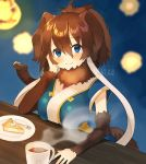 1girl blue_eyes blue_shirt brown_hair cake coffee commentary detached_sleeves eyebrows_visible_through_hair food fur_collar ichi001 kemono_friends long_hair looking_at_viewer mammoth_(kemono_friends) mammoth_ears mammoth_tail shirt sitting smile solo