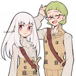 1boy 1girl artist_name closed_eyes closed_mouth do_m_kaeru fire_emblem fire_emblem:_three_houses garreg_mach_monastery_uniform glasses green_hair ignatz_victor long_hair long_sleeves lysithea_von_ordelia open_mouth pink_eyes short_hair simple_background uniform upper_body white_background white_hair